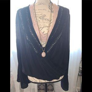 Bell sleeved deep V blouse